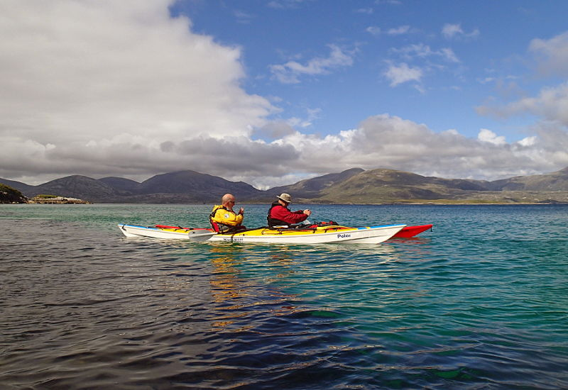 Pete and Gareth in the shelter of Taransay. Photo: Pete Bridgstock