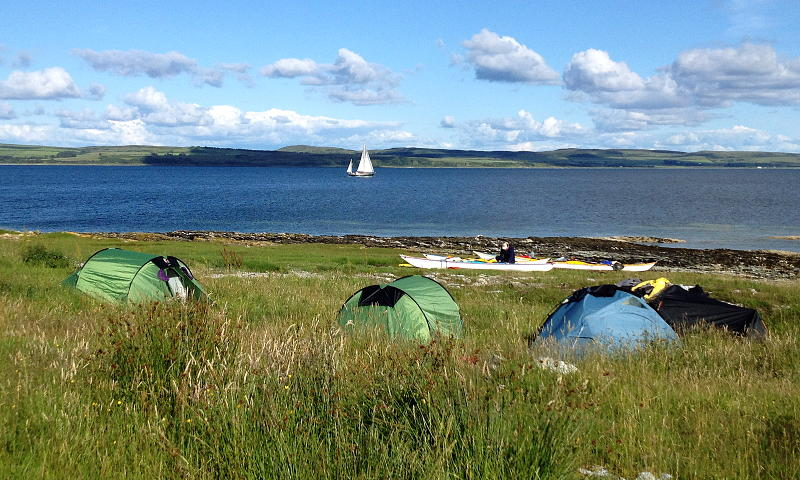 Camping on the east side of Ardlamont Point, looking across to Bute. Photo: Clive Hall