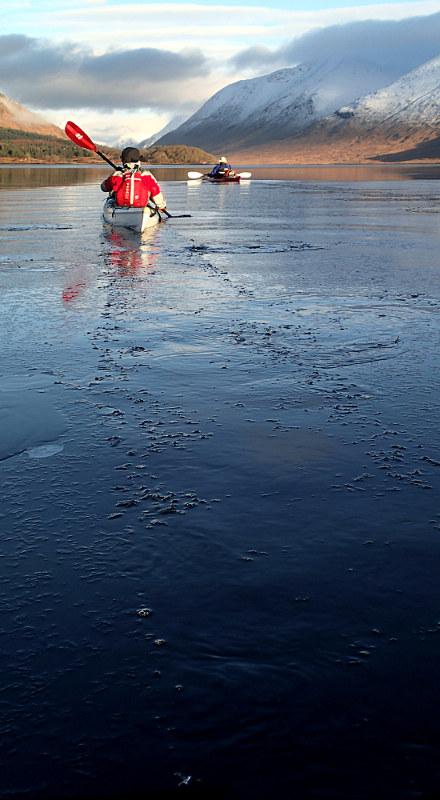Ann breaking the ice. Photo: Pete Bridgstock