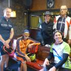 Cyclists in the club bar