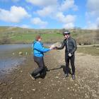 Semer Water handover to the cyclists