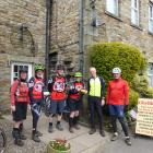 Mountain bikers took over outside the cafe in Gunnerside